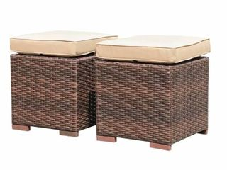 Set of 2 Outdoor Patio Rattan Ottomans Cushioned Seat Wicker Stools  Retail 102 99