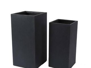 2 Piece Gray Smooth Stone Finish Tall MgO Planters  Retail 161 99