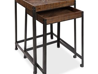 Kate and laurel Marsh Wood and Metal Nesting Accent Tables  Set of 2  Retail 249 99