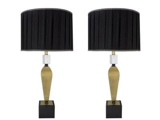 Aspen Creative Two Pack Set   38  High Metal Table lamp  Antique Brass Finish and Pleated Drum lamp Shade in Black  17  Wide  Retail 265 99