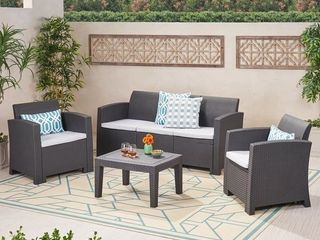 Jacksonville Outdoor 4 piece Wicker Cushioned Chat Set by Christopher Knight Home  Retail 565 46
