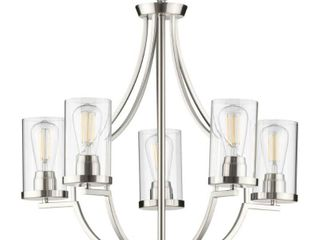 lassiter Collection Five light Brushed Nickel Chandelier   28 000  x 18 500  x 14 000  Retail 297 00