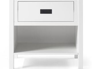 1 Drawer Classic Solid Wood Nightstand   White