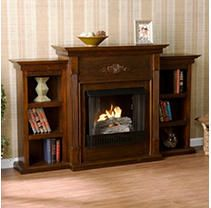 NEW  Southern Enterprises Griffin Electric Fireplace with Bookcases  Espresso