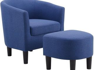 Camilla Blue Fabric Barrel Chair with Ottoman