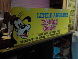 little anglers fishing pole display sign