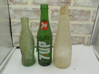 three soda bottles vintage