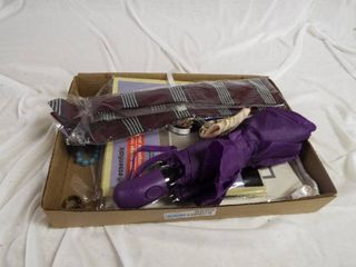 lot with tie  craft ribbon  umbrella  hair bow bracelet and collapsible storage container s