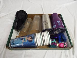 lot of plastic and glass cup s