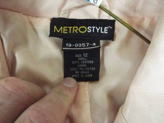 Metro style pink 100  leather women s jacket size 12