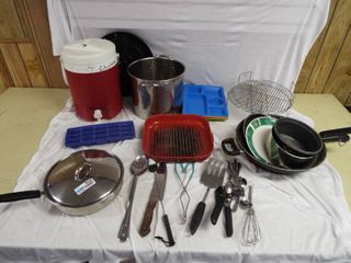 lot of various pots and pan s utensils and water cooler