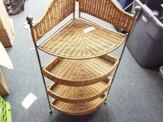Collapsible wicker corner shelf