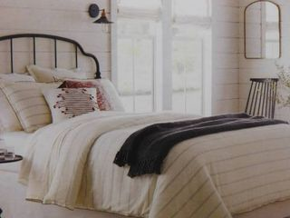 Hearth Hand with magnolia King ticking stripe comforter set