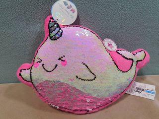 l2D flip sequin pillow shape is a narwhal