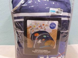 Microfiber outer space themed twin comforter 64in X 86in