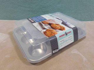 Nordic ware 12 cup natural aluminum muffin pan with storage lid  12 cups