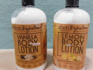 2 pack of Urban hydration body lotion  one is lemon scented the other is vanilla scented  500 ml in each bottle