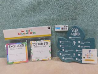 lot of 30 count  you did it  reward cards and 30 count seek and find game cards  great for a teaching setting