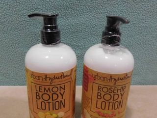 2 pack of Urban hydration body lotion  one is lemon scented the other is rosehip scented  500 ml in each bottle