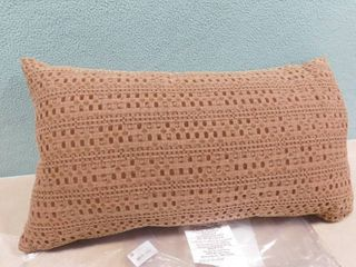 Threshold brown elongated decorative pillow 14in X 24in
