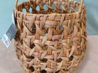 Threshold hancrafted water hycanith storage basket 12 3 16 in H X 10 in dia