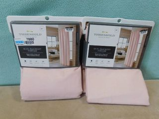 2 pack  one panel each Threshold 99 9  blush pink voile overlay blackout curtains 50 in W X 84 in l each panel