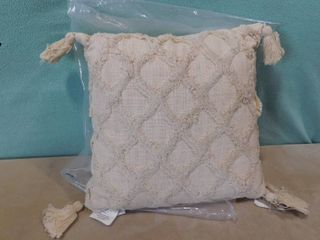 Thro home by Marlo lorenz natural sally knit cotton tassel pillow 18 in X 18 in