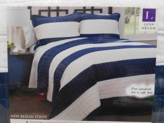 lush decor full queen cotton reversible new Berlin stripe quilt  3 piece set