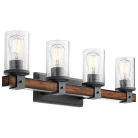 Kichler 4 light Barrington 9 in Distressed Black and Wood Cylinder Vanity light