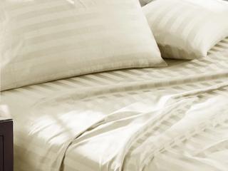 luxury Egyptian Cotton Damask Stripe 1000 Thread Count 4pc Sheet Set Retail 132 99