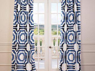 Meca Geometric Printed Cotton Rod Pocket Curtain Panels