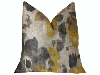 Plutus Pretty Passion Yellow  Beige and Gray luxury Decorative Throw Pillow Retail 136 49
