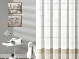 lush Decor Stripe Tassel Fringe Shower Curtain  Brown  72X72