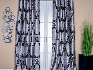 lambrequin Arabella Damask Semi Sheer Grommet Single Curtain Panel