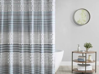Corey Cotton Yarn Dye Shower Curtain with Pom Poms Blue