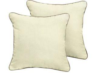 Humble   Haute Sunbrella Canvas Natural Indoor Outdoor Corded Pillow Set of 2  Retail 81 48