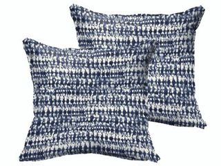 Porter Graphic Indigo and Navy Indoor  Outdoor Flange Square Pillow Set