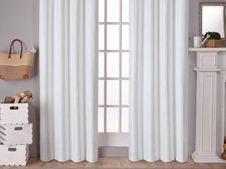 Raw Silk Thermal Room Darkening Window Curtain Panel Pair Off   White  54 x84    Exclusive Home