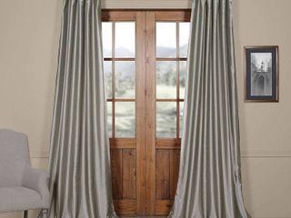 Set of 2  Drapes Faux Solid Taffeta Curtain Panel