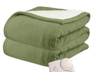 Biddeford 2060 9032138 633 MicroPlush Sherpa Electric Heated Blanket Twin Sage Green