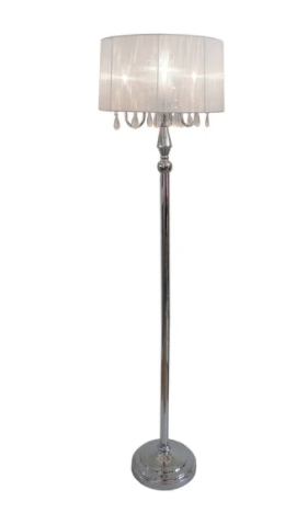 Silver Orchid Bacall Trendy Sheer Shade Floor lamp and Hanging Crystals   Retail 88 49