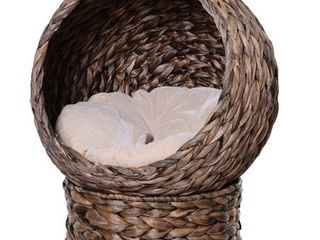 PawHut Cat Braided Banana leaf House Enclosure  Designed for Indoors and Includes Super Soft Cotton Bed  23 5  H  Grey