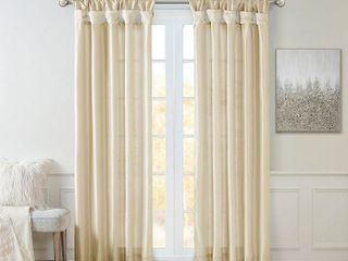 Set of 2 84 x50  lillian Twisted Tab lined light Filtering Curtain Panel Ivory