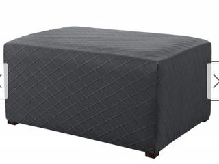 Enova Ultra Soft Rhombus Jacquard Polyester Stretch Fabric Oversized Ottoman Slipcover   N A