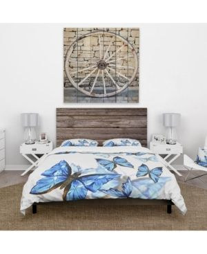 Designart  Watercolor Butterflies on White  Cabin   lodge Bedding Set   Duvet Cover   Shams  Retail 142 49