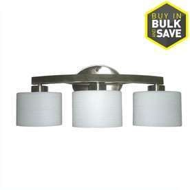 allen   roth 3 light Merington Brushed Nickel Bathroom Vanity light Missing One Glass Shade
