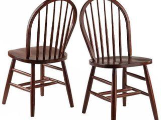2pc Windsor Chair Set Walnut   Winsome