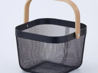 Style Selections Black Wire Basket  Wooden Handle