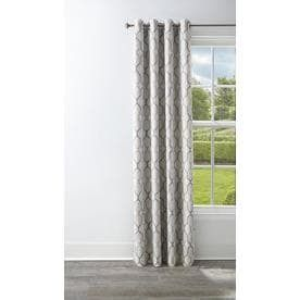 Set of 2 Style Selections Amhurst 95 in Ash Polyester Grommet Blackout Thermal lined Single Curtain Panel