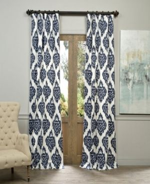 Exclusive Fabrics   Furnishings Ikat Printed Cotton 50  x 84  Curtain Panel